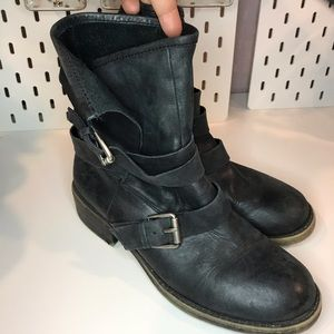 Lucky brand leather wrap buckle boots